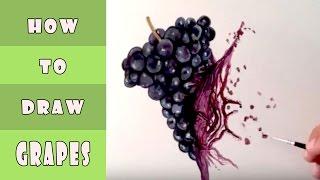 How to paint a wonderful grapes   كيف ترسم عنب بطريقة رائعة
