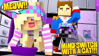 Minecraft MIND SWAP WITH A CAT || LEAH EATS MICE!!! w/ LITTLE DONNY