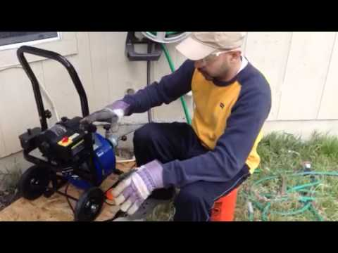 Clogged drain clean out with auto power feed drain snake DIY
