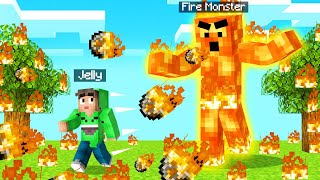 I Found A FIRE MONSTER In MINECRAFT! (Scary)