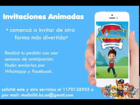 Video Invitacion De Paw Patrol Tarjeta Virtual Invitacion Animada Con Musica