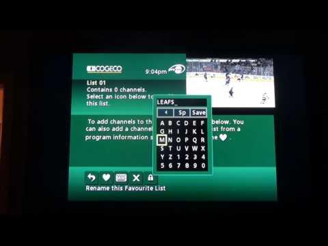Favorites List for Channels on Cogeco TV