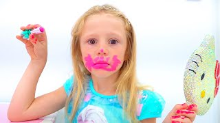 Nastya belajar cara menggunakan kosmetik anak-anak