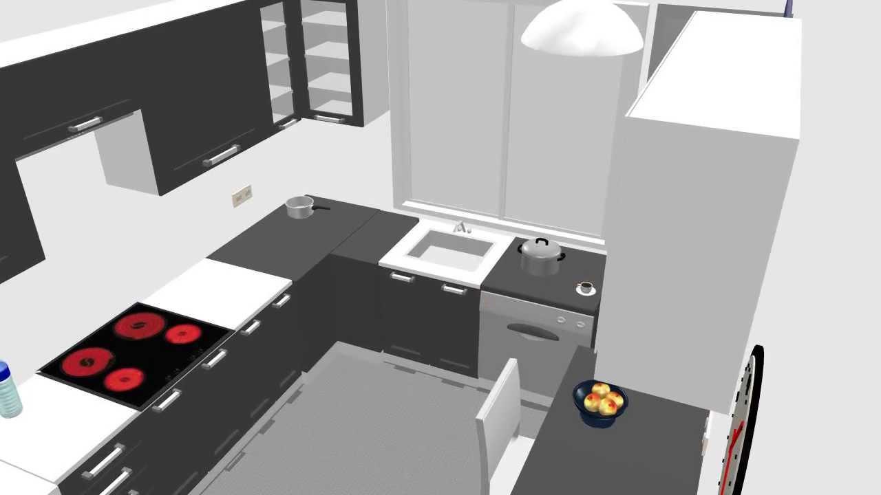 Dise o cocina 3d plano de cocina armariadas m dulos de for Cocinas en ele