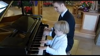 Jingle Bells Piano Duet with my 5 Year Old Brother