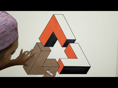 OPTICAL ILLUSION 3D WALL PAINTING TRIANGLE | 3D WALL DECORATION EFFECT | CAT TEMBOK KREATIF 3D
