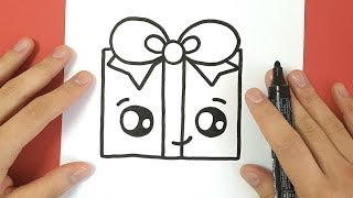 HOW TO DRAW A CHRISTMAS PRESENT CUTE AND EASY