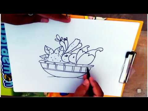 How To Draw A Vegetables Basket Step By Step Easy Drawings Youtube