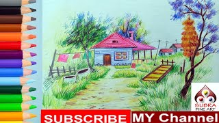 How To Draw Color Pencil Landscape Step By Step Online Class | Color Pencil Landscape