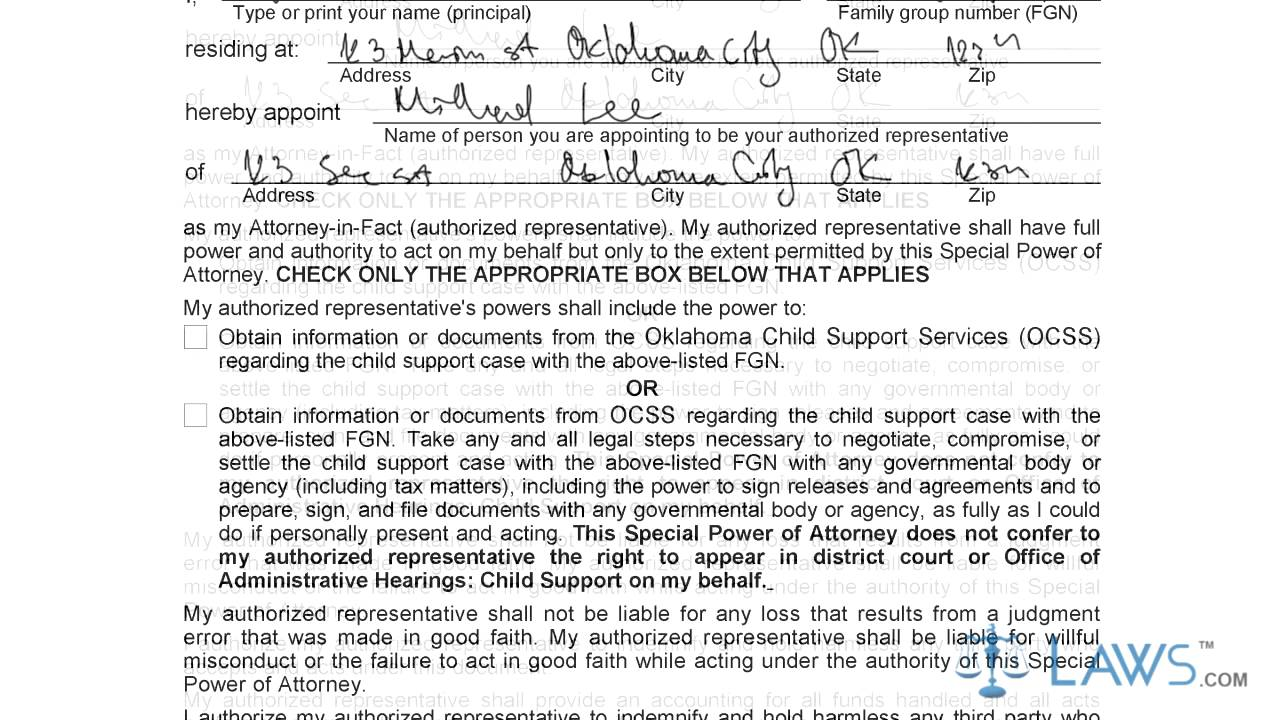Instruction to fill oklahoma special power of attorney youtube instruction to fill oklahoma special power of attorney falaconquin