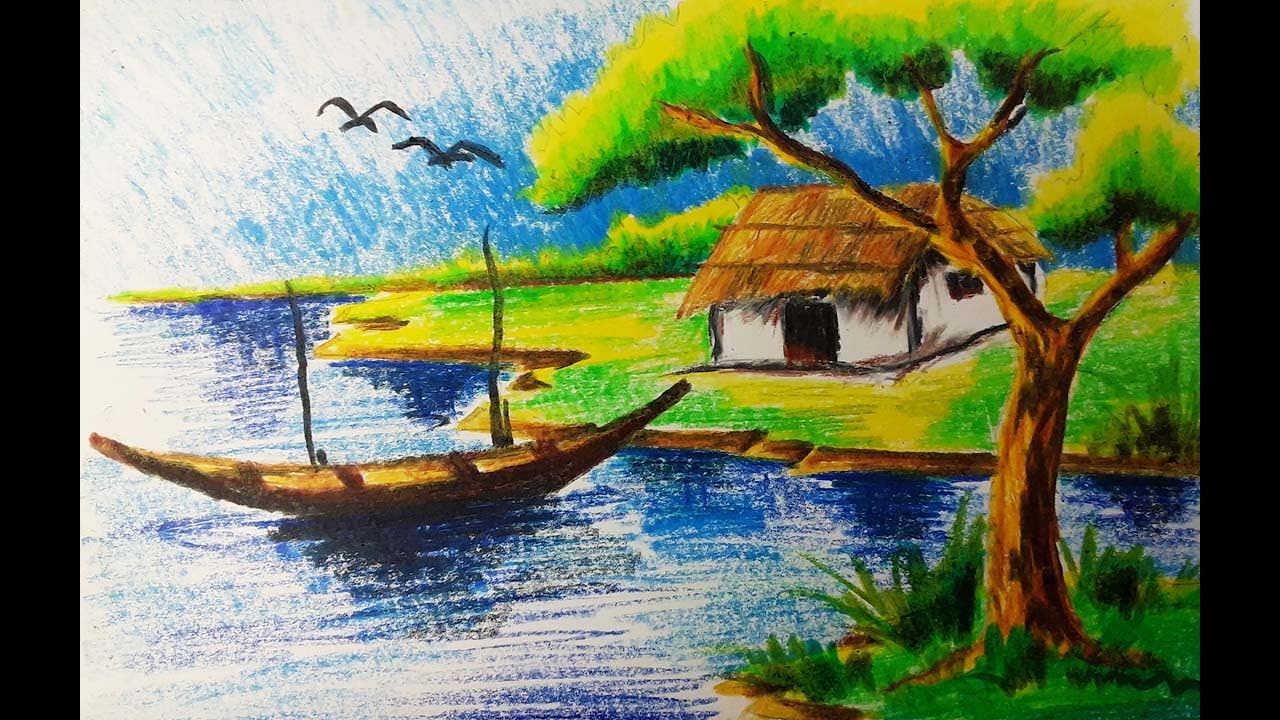 drawing a village scenery in oil pastel how to do shading ...