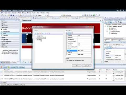 Asp net ile template master page yap m youtube for Asp net master page templates download