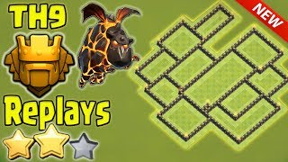 EPIC TH9 Trophy Base 2017 Anti All Combo  + Titans Replays _TH9 Anti 3 Star _ Clash Of Clans