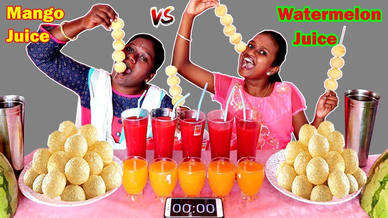 WATERMELON JUICE vs MANGO JUICE DRINKING CHALLENGE IN TAMIL FOODIES DIVYA vs ANUSHYA || PAANIPOORI