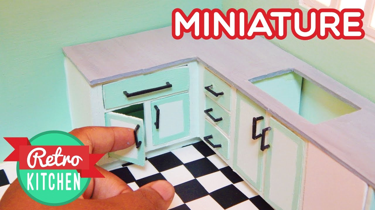 Kitchen Counters and Cabinets | Retro Miniature Kitchen Room Box 1 ...