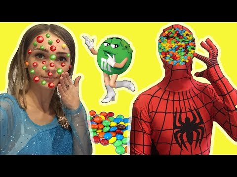 funny spiderman LOTS OF CANDY CHALLENGE CHOCOLATE FACE & frozen elssa in real life superhero house