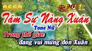 Karaoke Tâm Sự Nàng Xuân - Tone Nữ | Karaoke Long Ẩn 9669 | Nhạc xuân 2018