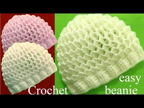 Gorro a Crochet en punto 3D panal o nido de abeja tejidos tallermanualperu