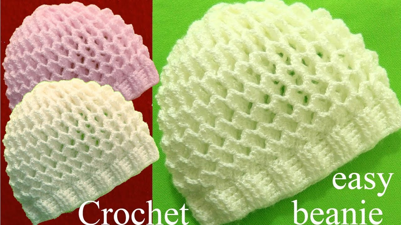 Gorro A Crochet En Punto 3d Panal O Nido De Abeja Tejidos