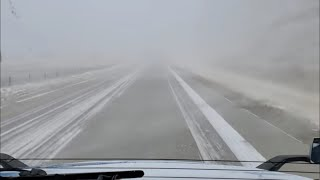 Rock Springs Wyoming to Little America on I-80 With Near Zero Visibility From Blowing Snow!! Yee Haw