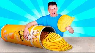 Thử Thách Đồ Ăn Khổng Lồ / Làm Bánh Pringle's Siêu To