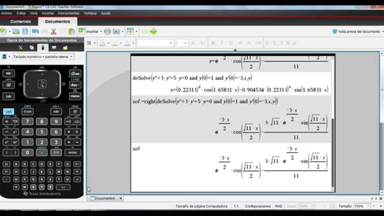 Ecuaciones Diferenciales TI Nspire CX CAS