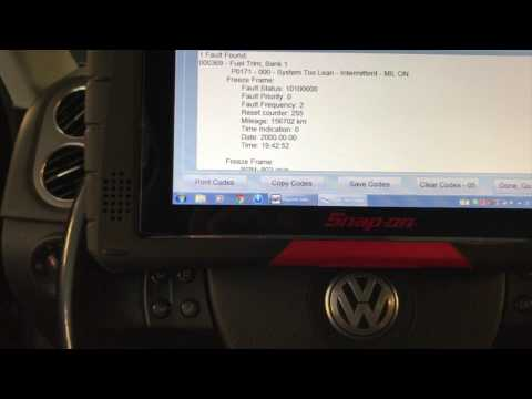 2009 VW Tiguan 2 0T P0171 Lean condition and electronic parking brake codes