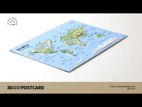 Postcard - 3D Raised Relief Map of the World