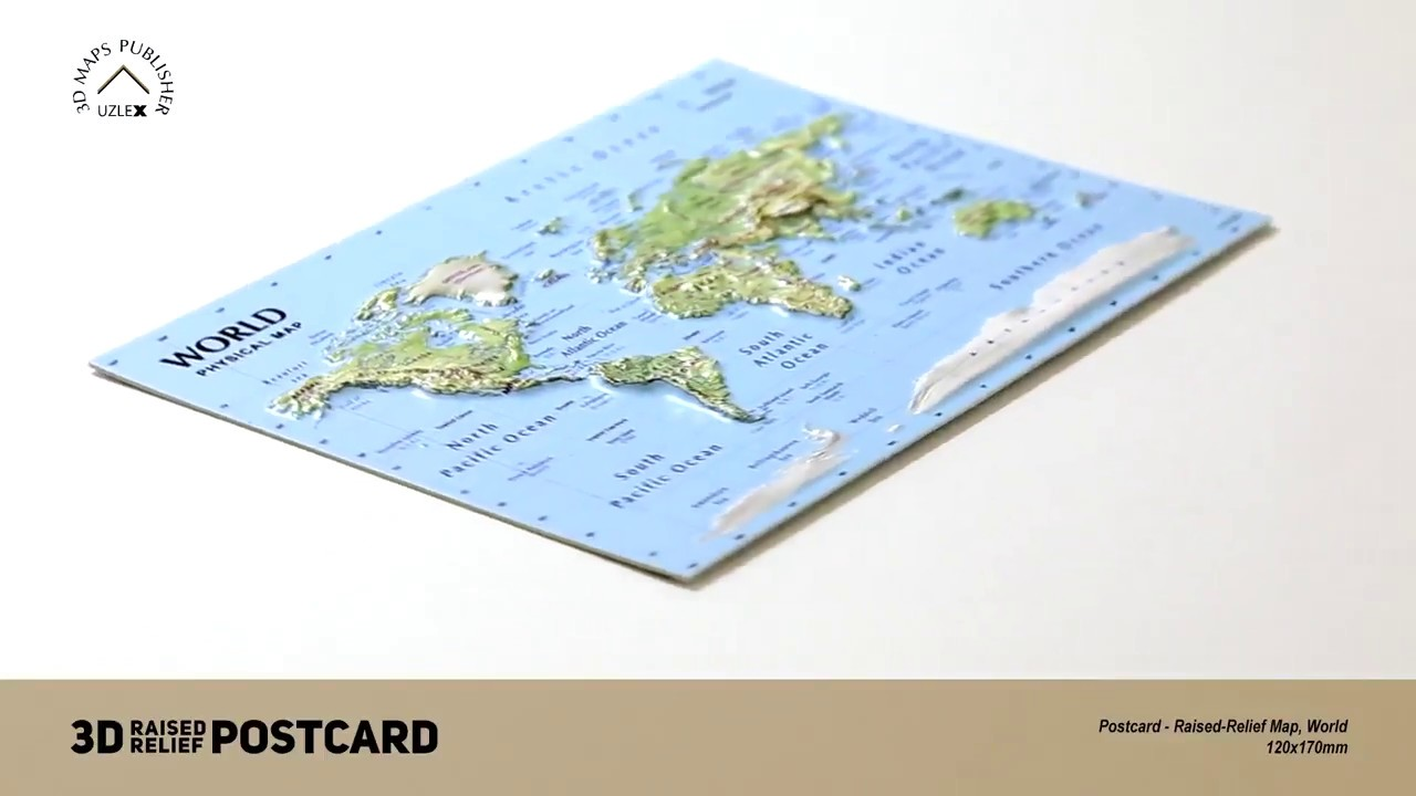 Relief Map Of The World.Postcard 3d Raised Relief Map Of The World Youtube