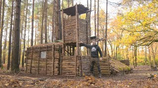Bushcraft Camp: Full Super Shelter Tour (Tower, Ladder, Shelter, Roof, Log Store, Raised Bed)