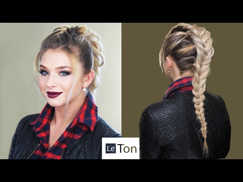 Глэм Панк. Коричневый смоки. Прическа креативная коса. Glam Punk makeup