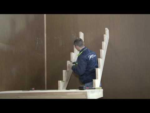 Сборка и монтаж деревянной лестницы ЛЕС 62 поворот 180 градусов