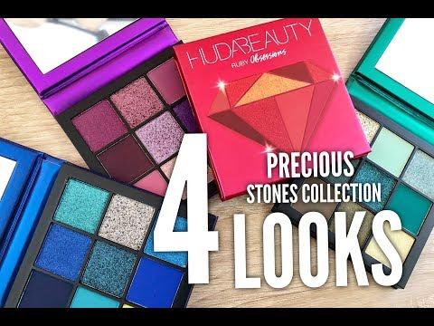 NEW Huda Beauty Precious Stones Obsessions Palettes: 4 Looks &