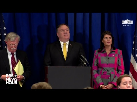 WATCH LIVE: Secretary of State Mike Pompeo, Nikki Haley and John Bolton hold a news conference