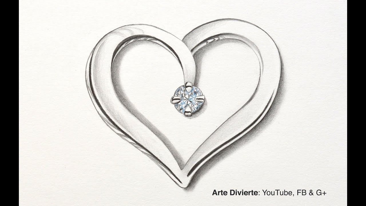 Cmo dibujar un corazn de plata con diamante  YouTube