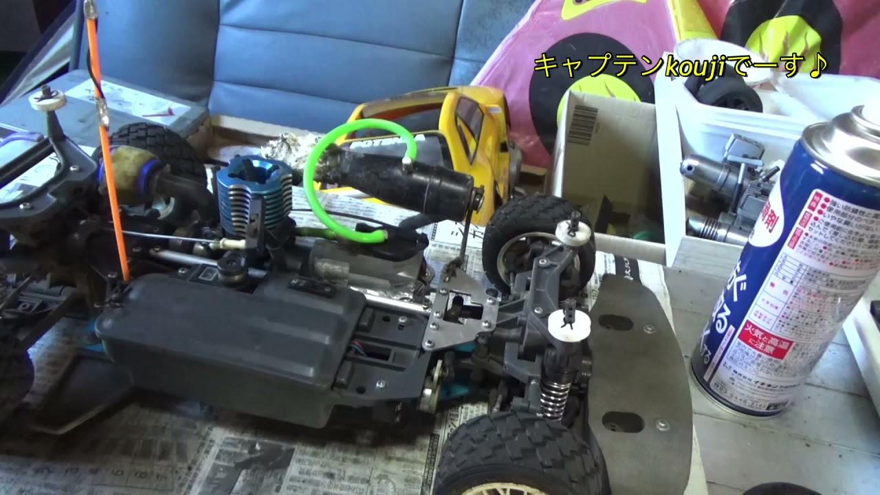 タミヤTGX エンジンのプラグホールからフッ素潤滑スプレーを注入ー走行テストしまーす♪