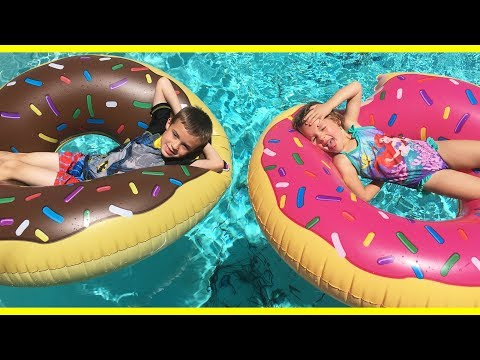 Thumbnail: FOOD IN THE POOL!!! Shark Bite Scary Game & Giant Donuts For Kids