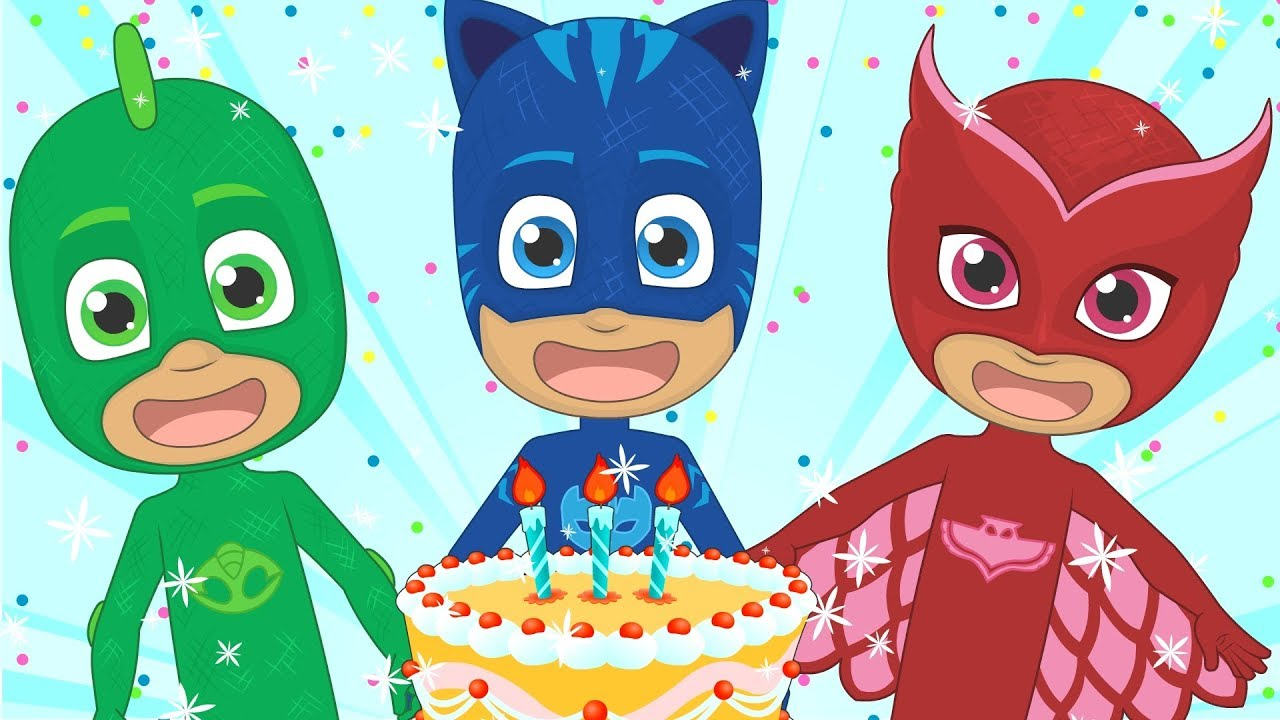 Happy Birthday With Pj Masks Party Song For Kids In English Youtube