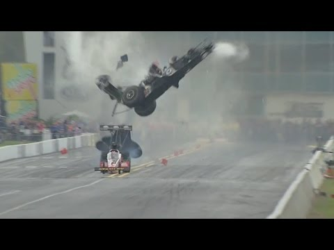 Larry Dixon walks away from a spectacular crash in Gainesville #NHRA