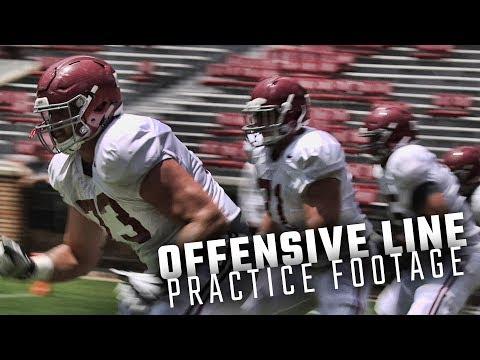 The Alabama O-Line runs drills before Saturday's scrimmage at Bryant-Denny Stadium