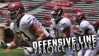 The Alabama O-Line runs drills before Saturday