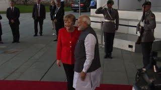 Angela Merkel welcomes India's PM Modi to Berlin