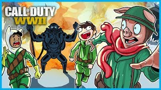 Call of Duty: WWII Zombies Funny Moments! - Boss Zombie, Easter Egg Fail, and BBQ Chicken Men!