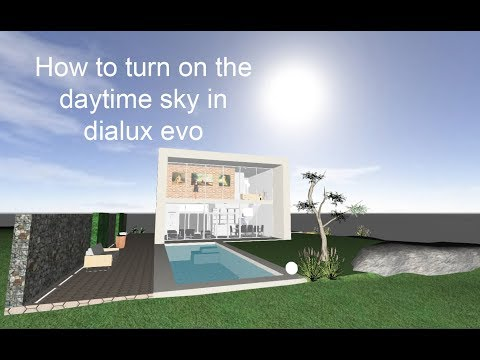 How to turn on the sky in Dialux evo
