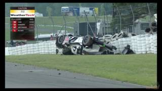 LMP2 crash at Canadian Motorsports Park. Final minutes. 07.09.2017