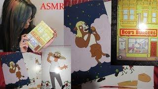 Bobs burgers loot crate  BURGER BOX recipe cards unboxing reading (ASMR)