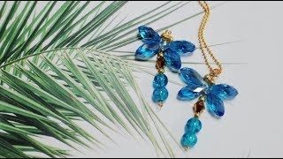 DoreenBeads Jewelry Making Tutorial - Brisk Lake Blue Dragonfly Glass Loose Beads Pendant Necklace