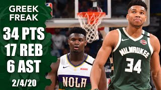 Giannis Antetokounmpo drops 34 points in matchup vs. Zion Williamson | 2019-20 NBA Highlights