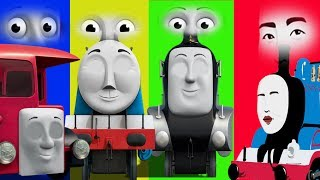 Repeat youtube video Baby Learn, Thomas and Friends, Funny EYES Swap Wrong Head Finger Family Nursery Baby Toy Train Kids
