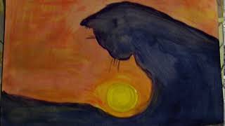Картина Силуэт кошки на закате